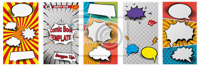 Fototapete Comic book page colorful composition with halftone rays dotted radial effects. Vector illustration