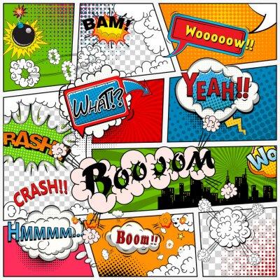 Fototapete Comic-Buchseite geteilt durch Linien mit Sprechblasen, Klangeffekt. Retro-Hintergrund Mock-up. Comics-Vorlage.