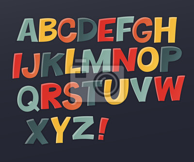 Comic buntes Alphabet. Vektor-Set. Komischer Text. Comics Buchstil. Vector Reihe von lustigen englischen multicolor Buchstaben. Nettes buntes vektor englisches Alphabet, lustiges Schriftbild, ABC, Gro