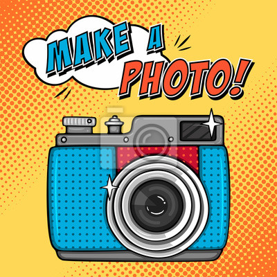 Comic-Illustration mit Foto-Kamera in Pop-Art-Stil