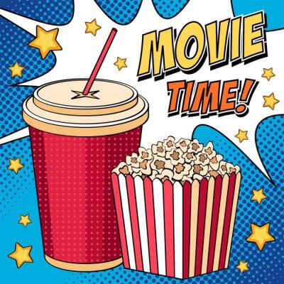 Comic-Illustration mit Popcorn-Box und Cola in Pop-Art-Stil