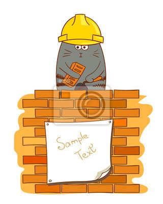 Comic Katze Maurer Lustige Bauarbeiter Nahe Backsteinmauer