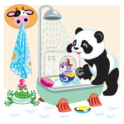Comic Pandas Im Badezimmer Fototapete Fototapeten Badewanne