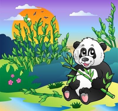 Comic Pandas In Bambus Wald Vektor Illustration Fototapete