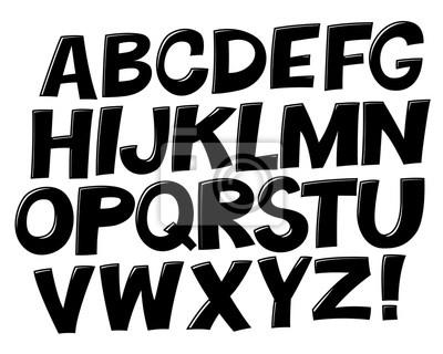 Comic Schwarz-Weiß-Alphabet. Vektor-Set. Komischer Text. Comics Buchschrift.