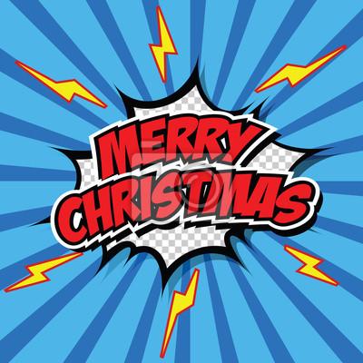 Comic Frohe Weihnachten.Fototapete Comic Style Frohe Weihnachten Illustration