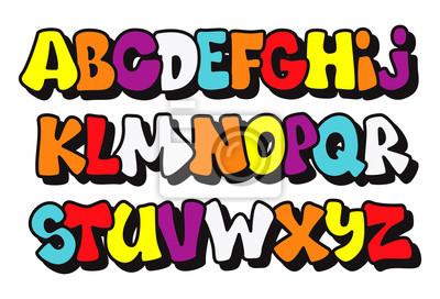 Comics Graffiti-Stil Schriftart. Vector Alphabet
