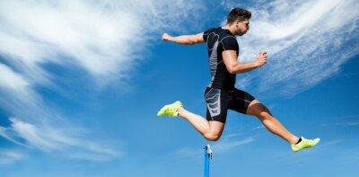 Fototapete Composite-Bild von athletischen Mann üben Springreiten