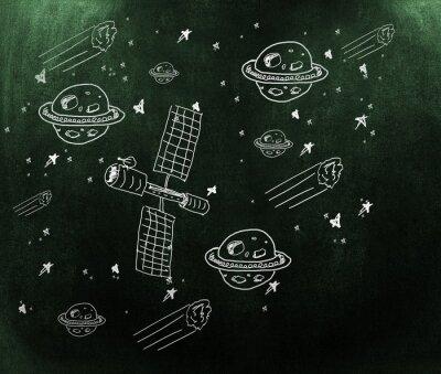 Fototapete Composite-Bild von Planeten, Sternen und Satelliten