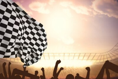 Fototapete Composite image of checkered flag