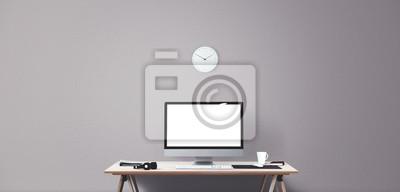 Computer Display Und Buro Tools Auf Dem Schreibtisch Desktop