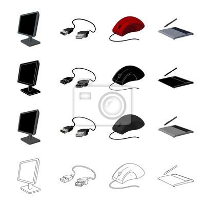 Computer-geräte-monitor, usb-kabel, computer-maus, grafik-tablette ...