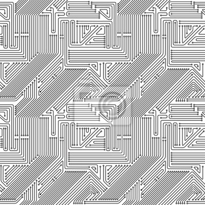 Fototapete Computer-Platine nahtlose Muster.