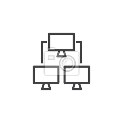 Computernetzwerklinie ikone, entwurfsvektorzeichen, lineares ...