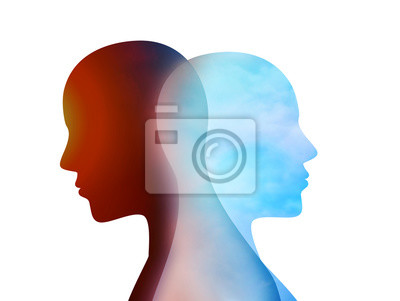 Fototapete Concept change of mood. Emotions. Bipolar disorder mind mental. Split personality. Dual personality. Isolated head silhouette of man