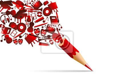 Fototapete Concept de l'espace culturel avec l'univers de la création artistique symbolisé par des pictogrammes qui s'échappent d'un crayon de couleur rouge.