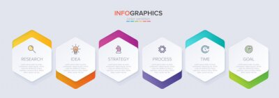 Fototapete Concept of arrow business model with 6 successive steps. Six colorful graphic elements. Timeline design for brochure, presentation. Infographic design layout