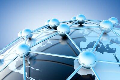 Fototapete concepto de internet y trabajo en roten con mapa del mundo