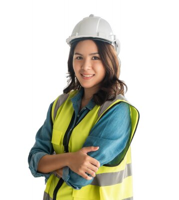 Fototapete Confidence Female asian Engineer with safety equipment isolated on white.