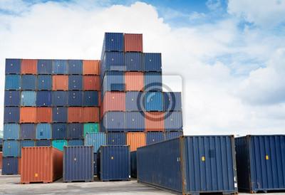 Container in Güterbahnhof, Fuhrhandel Hintergrund