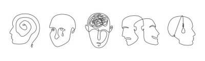 Fototapete Continuous line drawing mental disorder vector icons, abstract concepts of various psychic health problems one line technique, human heads sketches showing personality disorders or mental illnesses