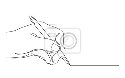 Fototapete continuous line drawing of hand drawing line with pen
