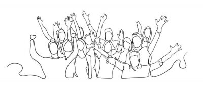Fototapete Continuous line drawing of happy cheerful crowd of people. Cheerful crowd cheering illustration. Hands up. Group of applause people continuous one line vector drawing. Audience silhouette hand drawn.