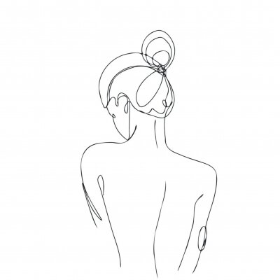 Fototapete Continuous line drawing. Woman body. Vector Illustration for spa, tshirt, nails, poster