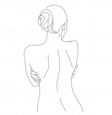 Fototapete Continuous line drawing. Woman body. Vector Illustration for spa, tshirt, nails, poster. vector image of a woman. one line sketch