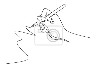 Fototapete Continuous one line drawing of hand writing minimalism style. Fingers holding ink pen or pencil to draw or write on paper.