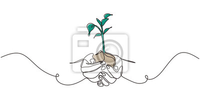 Fototapete Continuous one line drawing of plant in hand. Hands holding nature sign and symbol vector illustration. Minimalism design and simplicity sketch hand drawn.