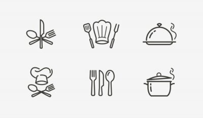 Fototapete Cooking icon set vector. Culinary, restaurant, cuisine symbol or logo