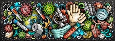 Fototapete Coronavirus hand drawn cartoon doodles illustration. Colorful vector banner