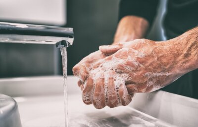 Fototapete Coronavirus pandemic prevention wash hands with soap warm water and , rubbing nails and fingers washing frequently or using hand sanitizer gel.