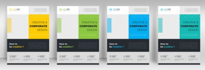 Fototapete Corporate business flyer template design set with blue, yellow, teal and light green color. digital marketing agency flyer, business marketing flyer set, digital marketing new flyer. flyer design set.