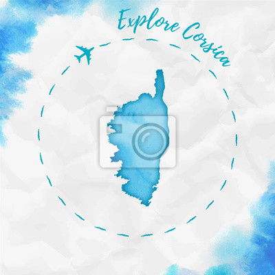 Corsica watercolor island map in turquoise colors. explore corsica ...