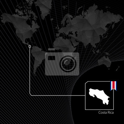 Costa rica on black world map. map and flag of costa rica ...