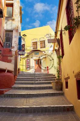 Fototapete cosy street of Chania, Crete, Greece
