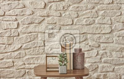 Fototapete Couchtisch Und Wohnzimmer Zubehör Stil Weißen Ziegel Hintergrund