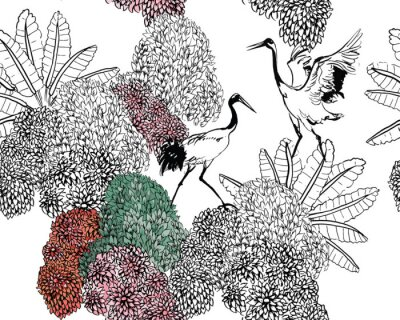 Fototapete Couple of Cranes in Rajastan Blooming Bushes and Tropical Leaves, Black and White Doodle Drawing Wildlife Exotic Bushes, Tropical Birds in Jungle Textile Design on White Background