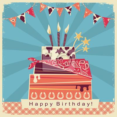 Fototapete Cowboy Party Karte Mit Happy Birthday Big Cake