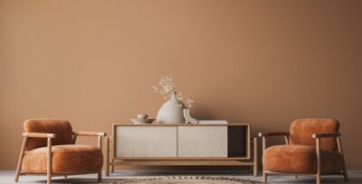 Fototapete Cozy home interior with wooden furniture on brown background, empty wall mockup in boho decoration, 3d render