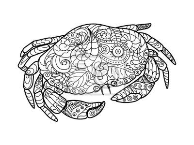 Crab Malbuch für Erwachsene Vektor