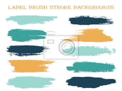 Fototapete Craft label brush stroke backgrounds