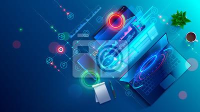 Fototapete Creating software and website for different digital platform desktop pc, laptop, tablet, mobile phone. Development, design and coding web and offline app. Designing interface and code of programs.