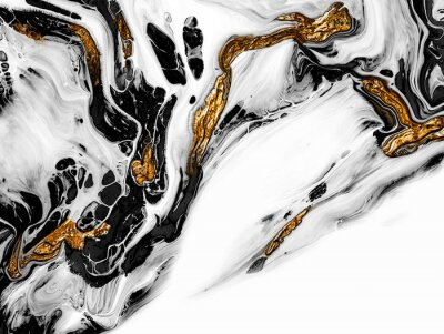 Fototapete Creative abstract hand painted background, wallpaper, texture, close-up fragment of acrylic painting on canvas with brush strokes. Modern art. Black and white with gold background. Contemporary art.