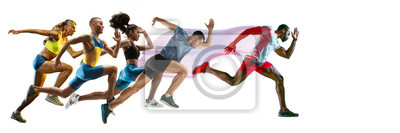 Fototapete Creative collage of photos of 5 models running and jumping. Ad, sport, healthy lifestyle, motion, activity, movement concept. Male and female sportsmans of different ethnicities. White background.