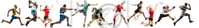Fototapete Creative collage of sportive models running and jumping. Advertising, sport, healthy lifestyle, motion, activity, movement concept. American football, soccer, tennis volleyball box badminton rugby