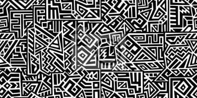 Fototapete Creative ethnic style vector seamless pattern. Unique geometric vector swatch. Perfect for screen background, site backdrop, wrapping paper, wallpaper, textile and surface design. Trendy boho tile.