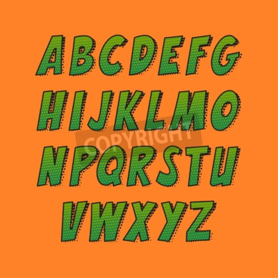 Creative font. Vector alphabet collection set in the style of comics and pop art. Funny colorful letters for decoration of kids' illustrations, websites, posters, comics and banners.